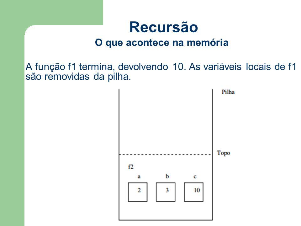 Recursão O que acontece na memória A função f1 termina, devolvendo 10. As variáveis locais de f1 são removidas da pilha.