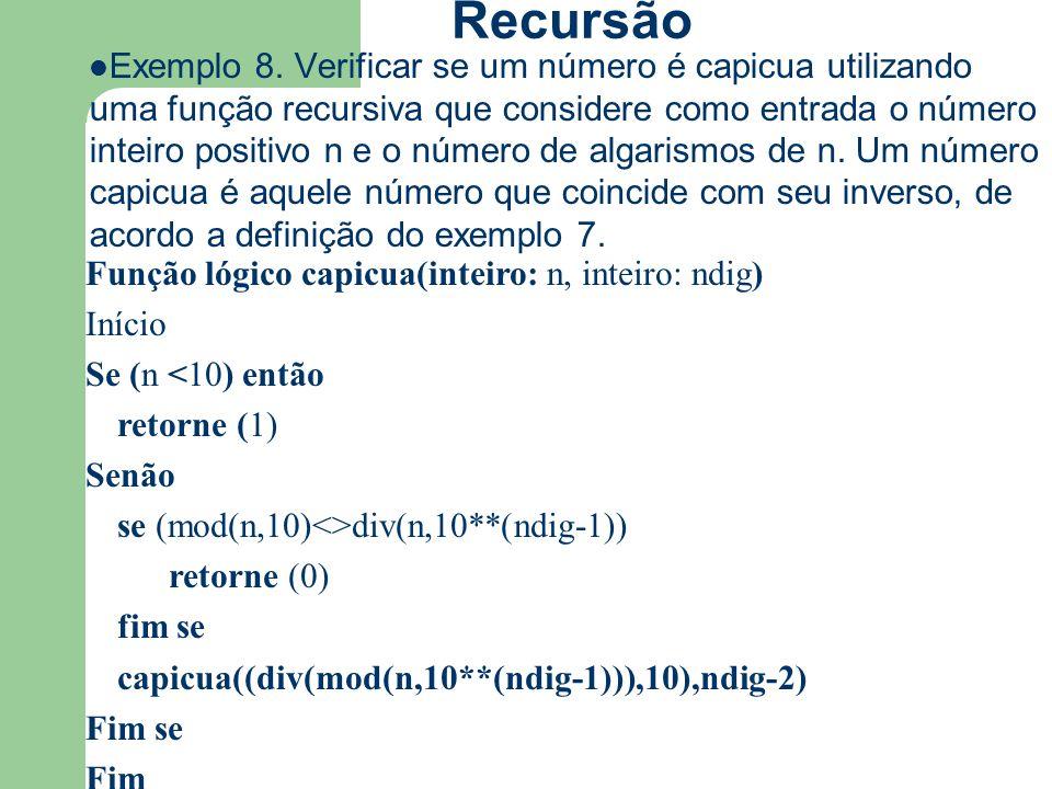 Recursão Exemplo 8. Verificar se um número é capicua utilizando uma função recursiva que considere como entrada o número inteiro positivo n e o número
