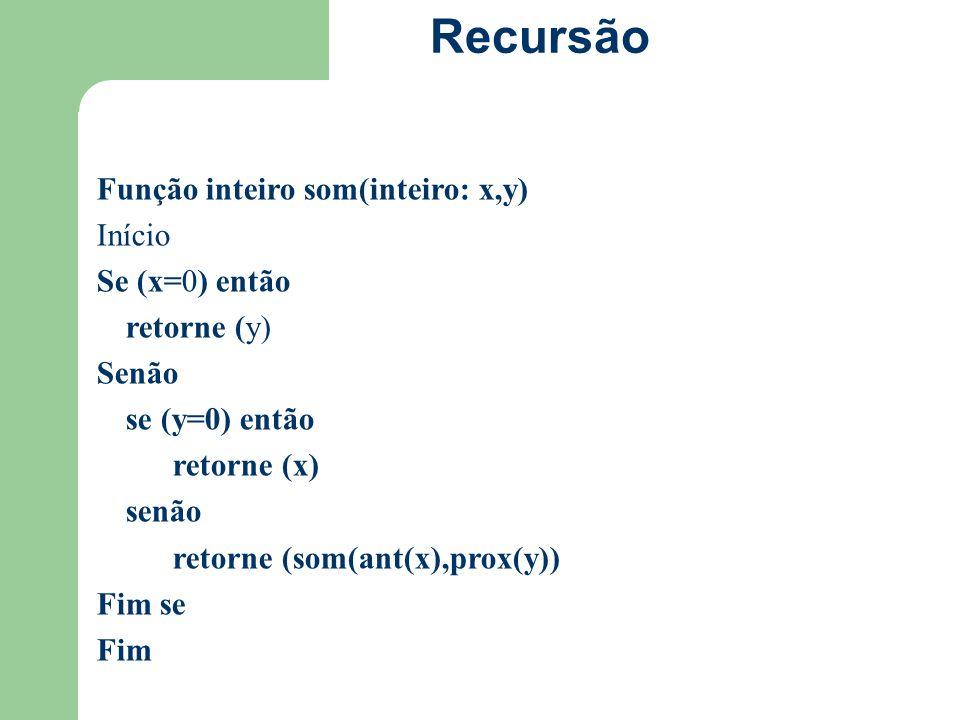 Recursão Função inteiro som(inteiro: x,y) Início Se (x=0) então retorne (y) Senão se (y=0) então retorne (x) senão retorne (som(ant(x),prox(y)) Fim se