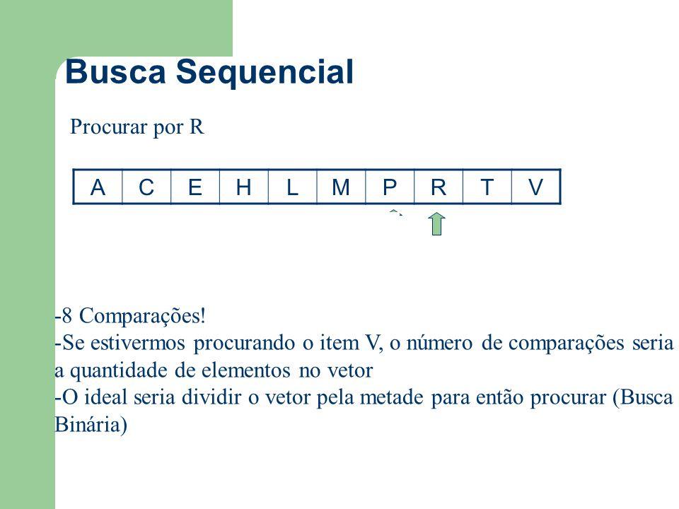Busca Sequencial ACEHLMPRTV Procurar por R -8 Comparações! -Se estivermos procurando o item V, o número de comparações seria a quantidade de elementos