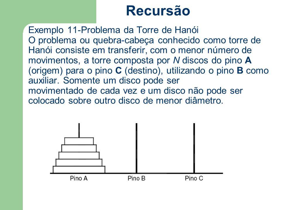 Exemplo 11-Problema da Torre de Hanói O problema ou quebra-cabeça conhecido como torre de Hanói consiste em transferir, com o menor número de moviment