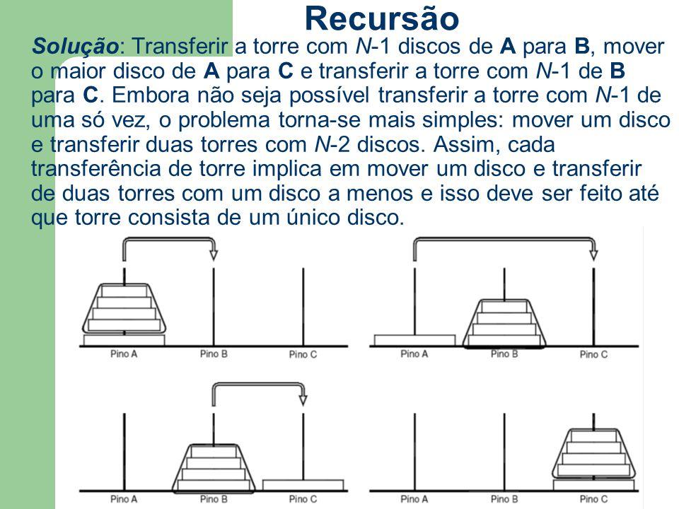 Solução: Transferir a torre com N-1 discos de A para B, mover o maior disco de A para C e transferir a torre com N-1 de B para C. Embora não seja poss