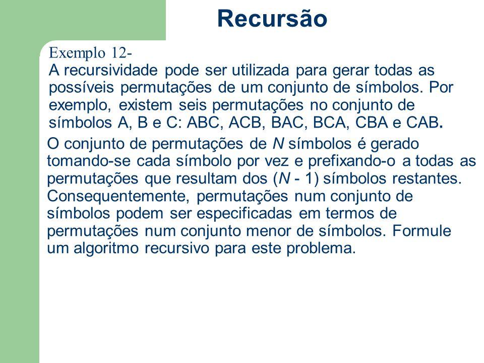 Exemplo 12- A recursividade pode ser utilizada para gerar todas as possíveis permutações de um conjunto de símbolos. Por exemplo, existem seis permuta