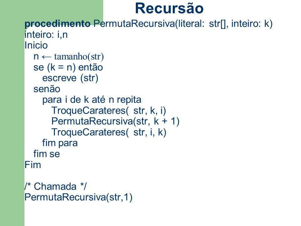 procedimento PermutaRecursiva(literal: str[], inteiro: k) inteiro: i,n Inicio n ← tamanho(str) se (k = n) então escreve (str) senão para i de k até n
