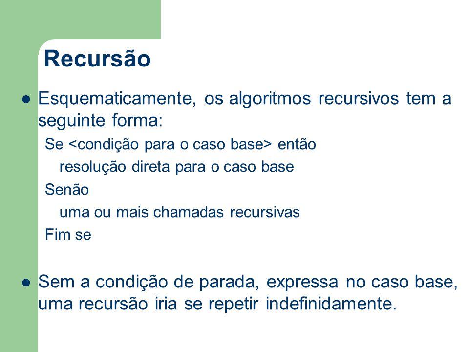 Recursão Esquematicamente, os algoritmos recursivos tem a seguinte forma: Se então resolução direta para o caso base Senão uma ou mais chamadas recurs