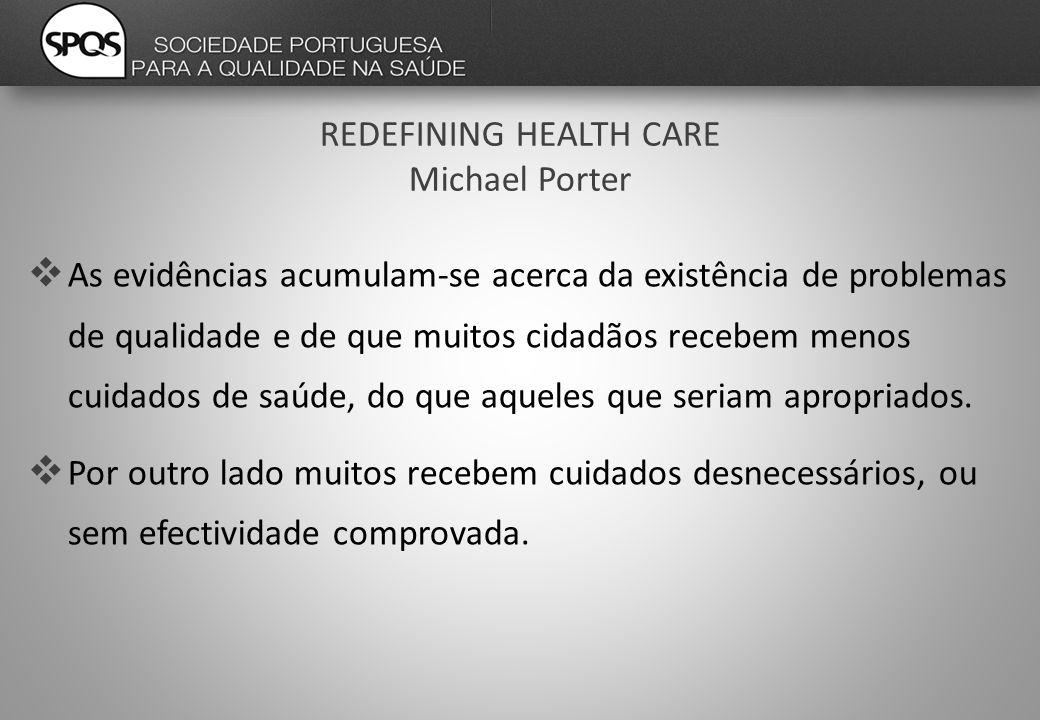 REDEFINING HEALTH CARE Michael Porter  As evidências acumulam-se acerca da existência de problemas de qualidade e de que muitos cidadãos recebem menos cuidados de saúde, do que aqueles que seriam apropriados.
