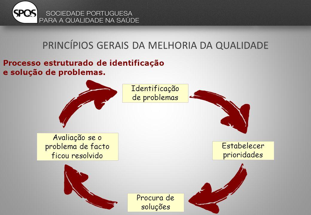 Procura de soluções Estabelecer prioridades Avaliação se o problema de facto ficou resolvido Identificação de problemas Processo estruturado de identificação e solução de problemas.