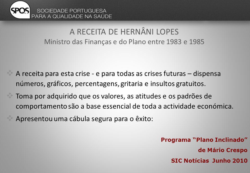 A RECEITA DE HERNÂNI LOPES Ministro das Finanças e do Plano entre 1983 e 1985  A receita para esta crise - e para todas as crises futuras – dispensa números, gráficos, percentagens, gritaria e insultos gratuitos.