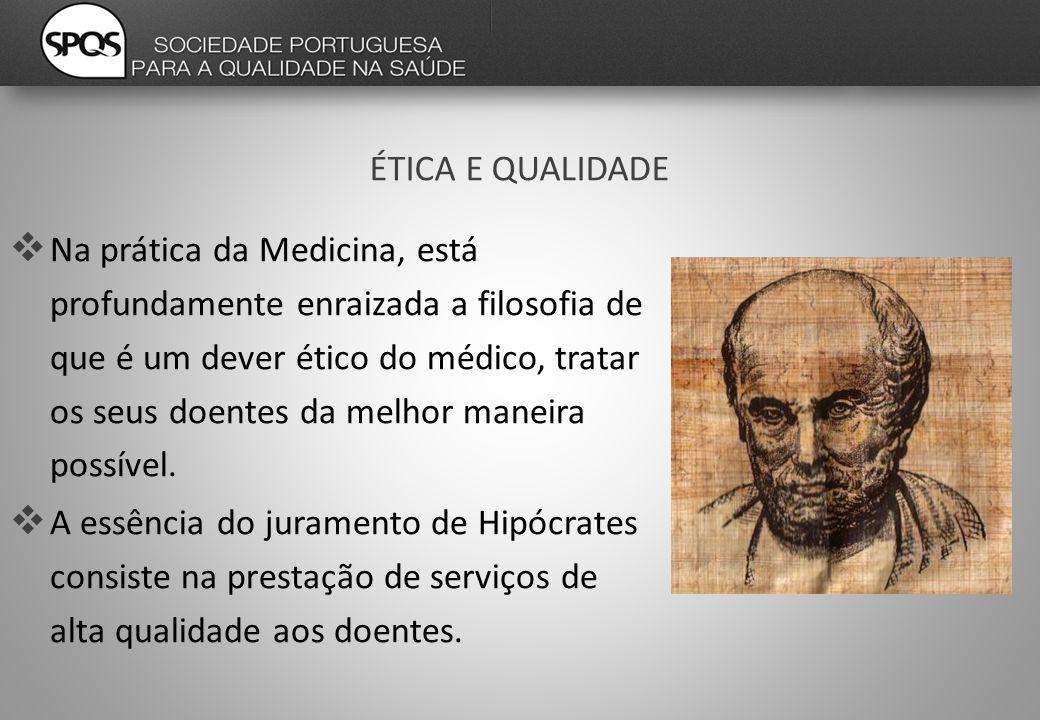 ÉTICA E QUALIDADE  Na prática da Medicina, está profundamente enraizada a filosofia de que é um dever ético do médico, tratar os seus doentes da melhor maneira possível.