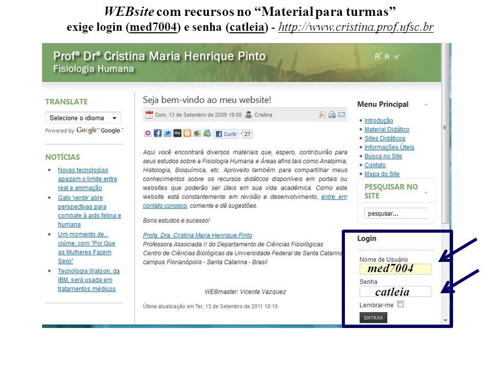 WEBsite com recursos no Material para turmas exige login (med7004) e senha (catleia) - http://www.cristina.prof.ufsc.br med7004 catleia