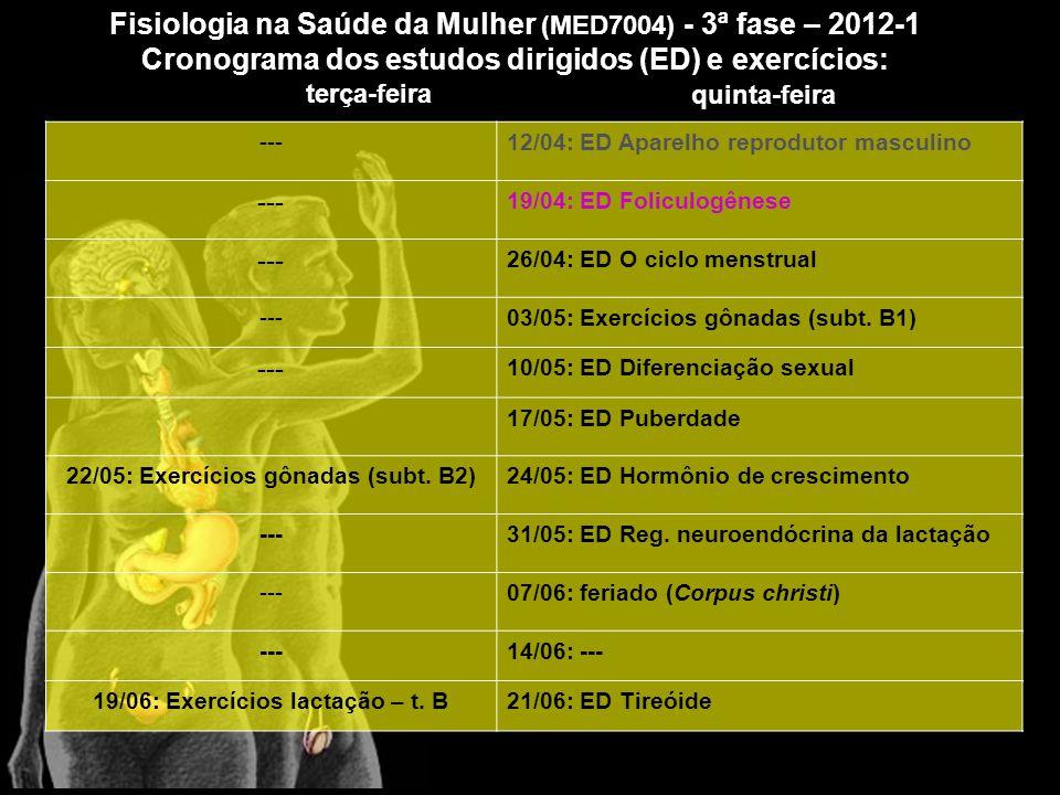 ---12/04: ED Aparelho reprodutor masculino --- 19/04: ED Foliculogênese --- 26/04: ED O ciclo menstrual ---03/05: Exercícios gônadas (subt.