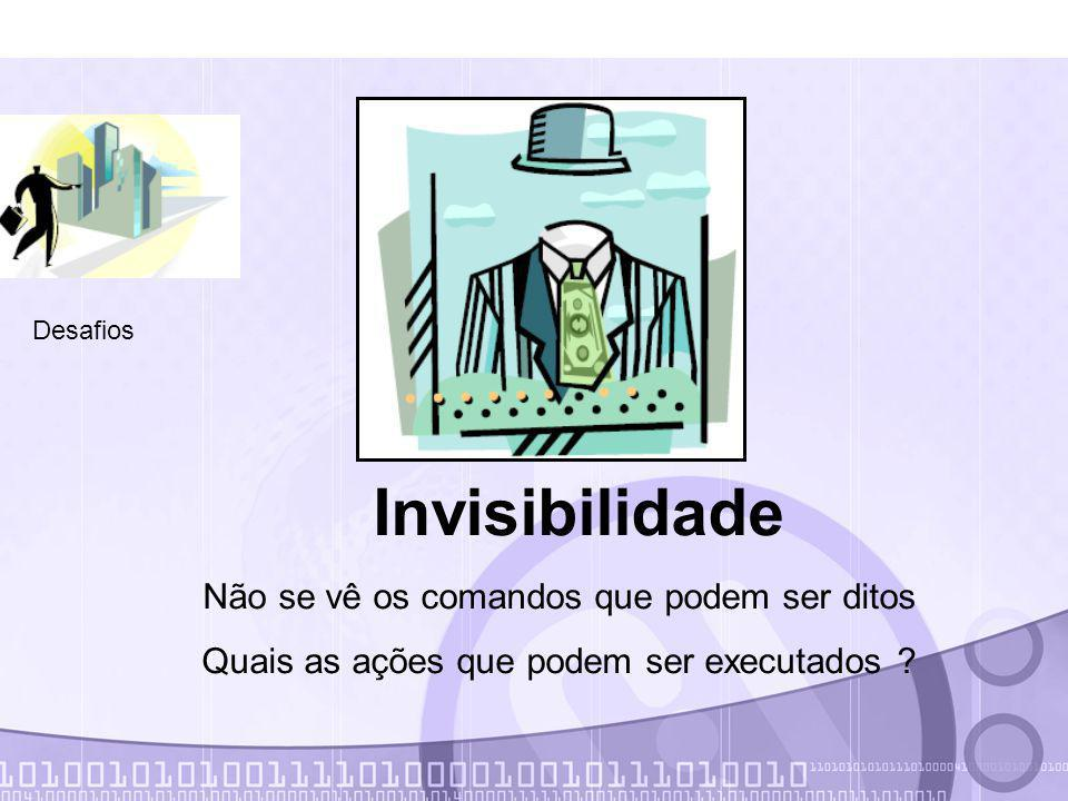 Desafios Invisibilidade Não se vê os comandos que podem ser ditos Quais as ações que podem ser executados ?