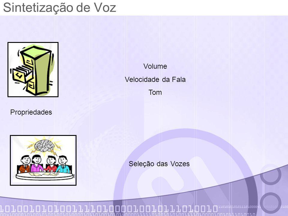 Sintetização de Voz Propriedades Volume Velocidade da Fala Tom Seleção das Vozes