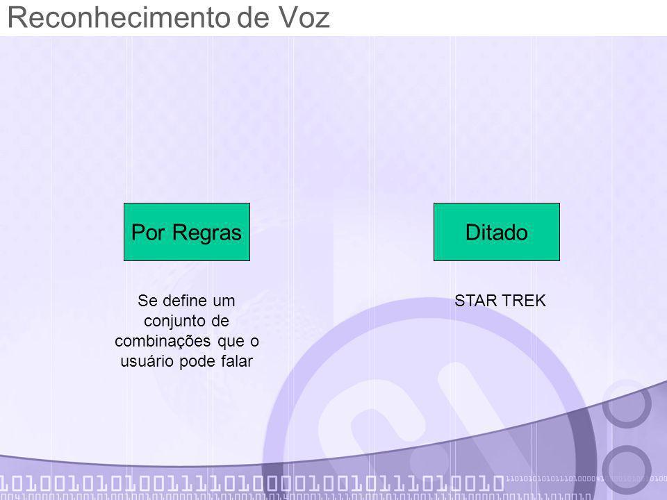 Reconhecimento de Voz Por RegrasDitado Se define um conjunto de combinações que o usuário pode falar STAR TREK