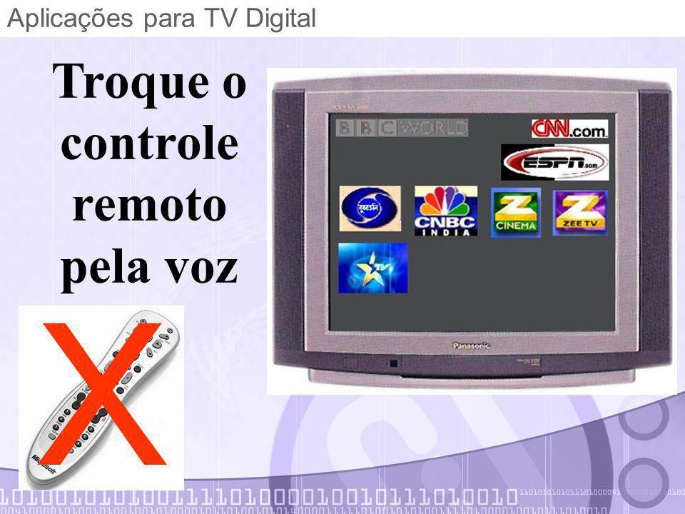 Aplicações para TV Digital Troque o controle remoto pela voz X
