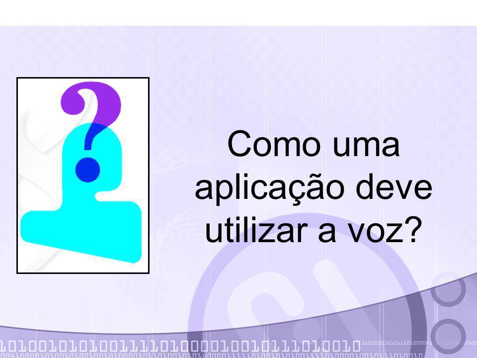 Sintetização de Voz try { // Cria um sintetizador para o portugues Synthesizer synth = Central.createSynthesizer( new SynthesizerModeDesc(new Locale( pt , br )); // Libera o recurso para falar synth.allocate(); synth.resume(); // Diz a mensagem Ola Mundo synth.speakPlainText( Ola Mundo , null); // Espera até que a frase seja dita synth.waitEngineState(Synthesizer.QUEUE_EMPTY); // Libera a memória synth.deallocate(); } catch (Exception e) {…