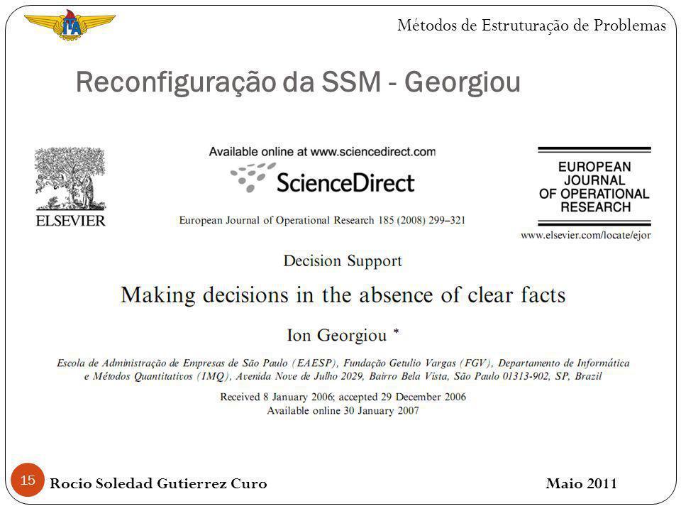 Reconfiguração da SSM - Georgiou 15 Rocio Soledad Gutierrez Curo Maio 2011 Métodos de Estruturação de Problemas
