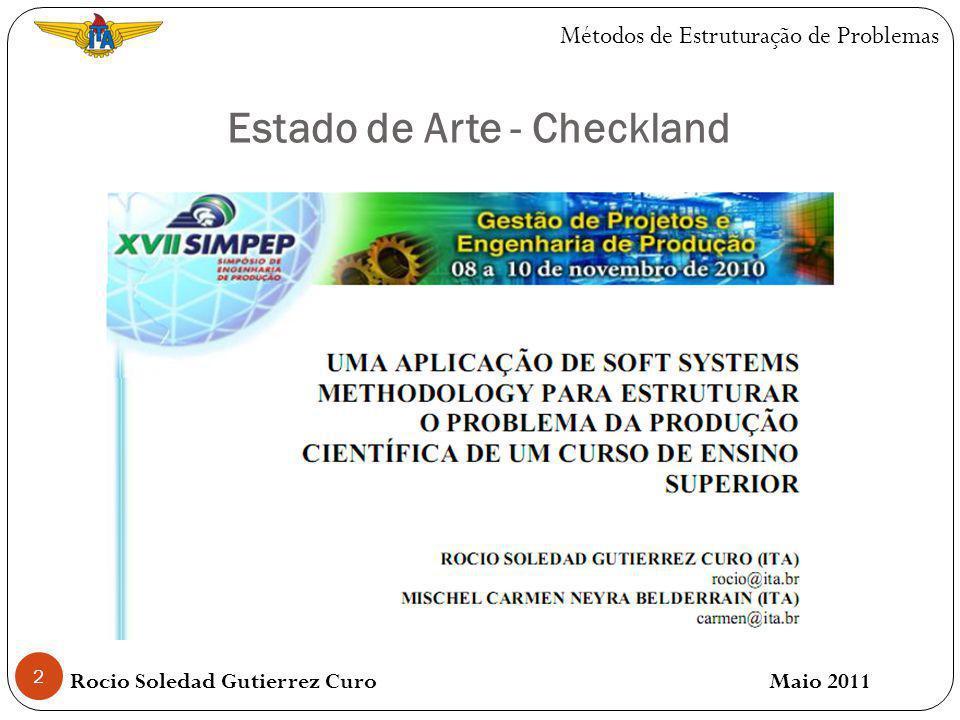 3 Estado de Arte - Checkland Rocio Soledad Gutierrez Curo Maio 2011 Métodos de Estruturação de Problemas