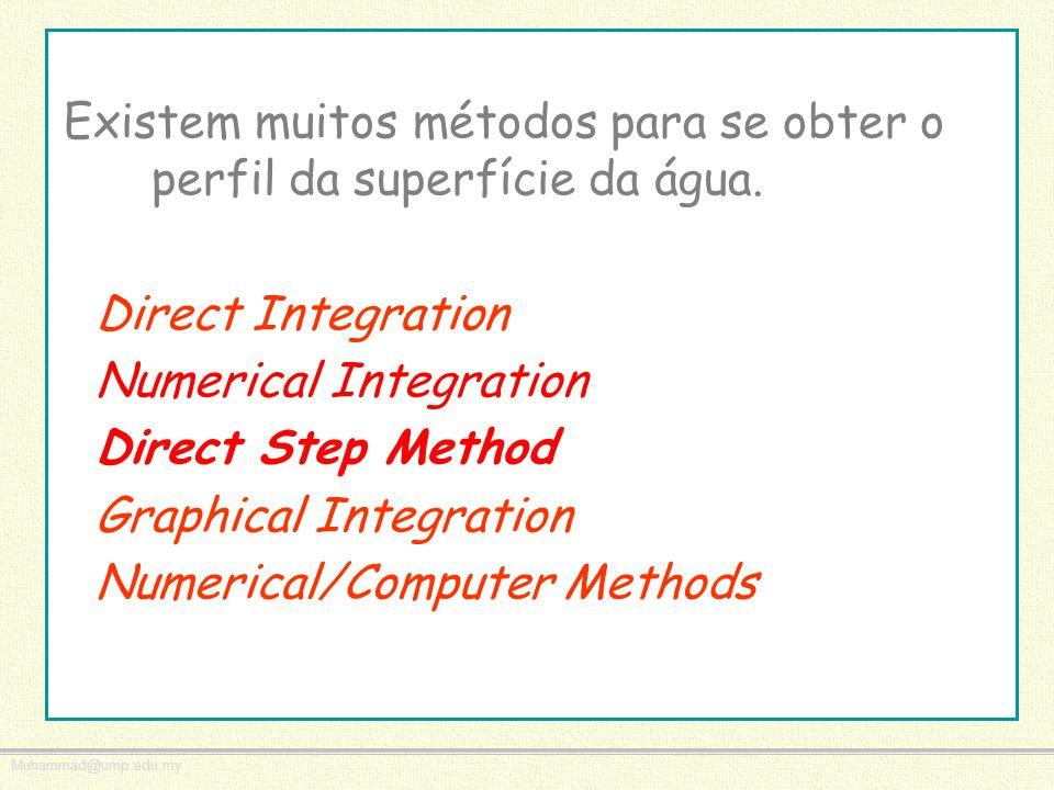 Muhammad@ump.edu.my Existem muitos métodos para se obter o perfil da superfície da água. Direct Integration Numerical Integration Direct Step Method G