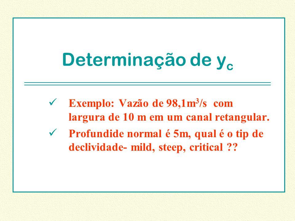 Determinação de y c Exemplo: Vazão de 98,1m 3 /s com largura de 10 m em um canal retangular. Profundide normal é 5m, qual é o tip de declividade- mild