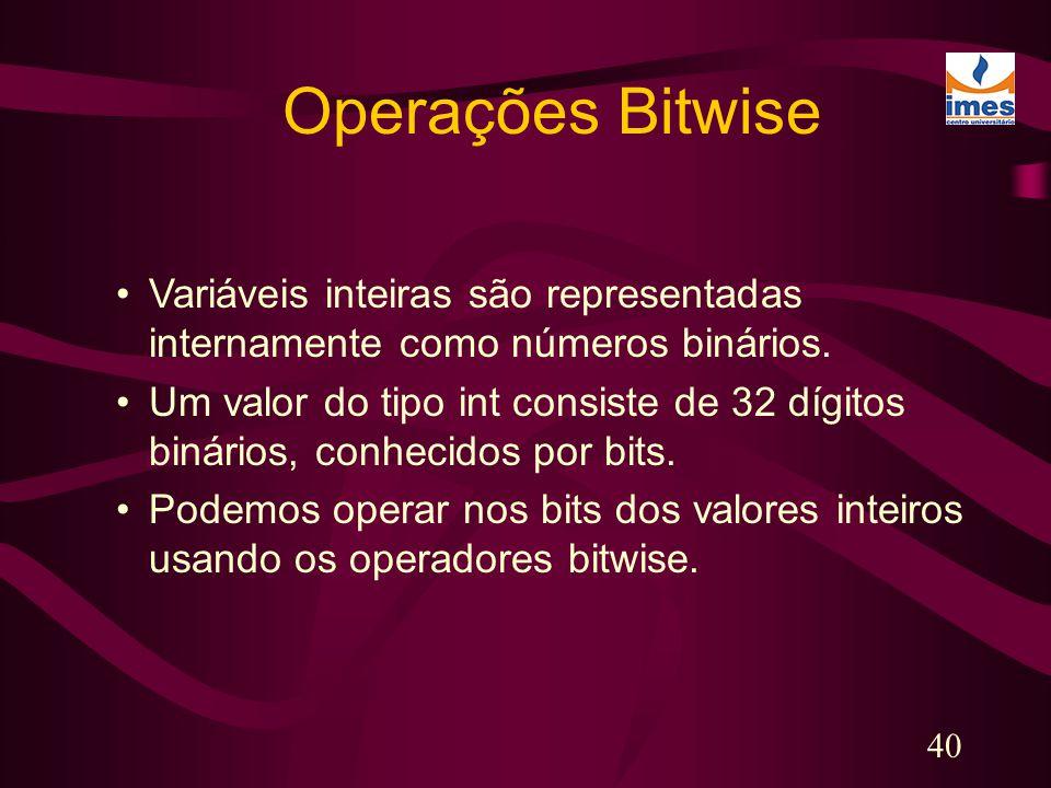 40 Operações Bitwise Variáveis inteiras são representadas internamente como números binários. Um valor do tipo int consiste de 32 dígitos binários, co
