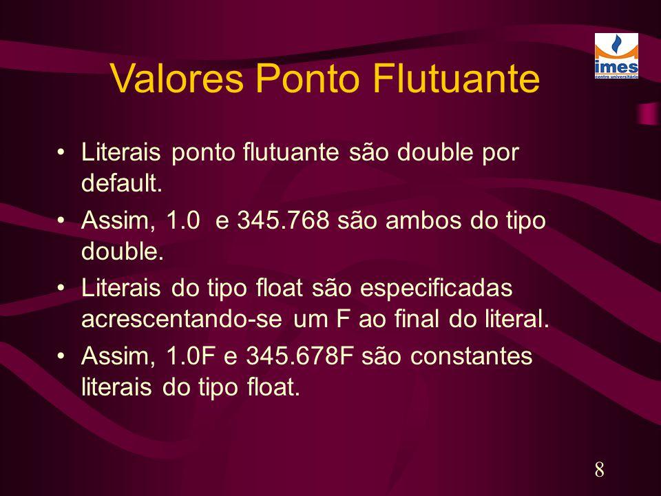 8 Literais ponto flutuante são double por default. Assim, 1.0 e 345.768 são ambos do tipo double. Literais do tipo float são especificadas acrescentan