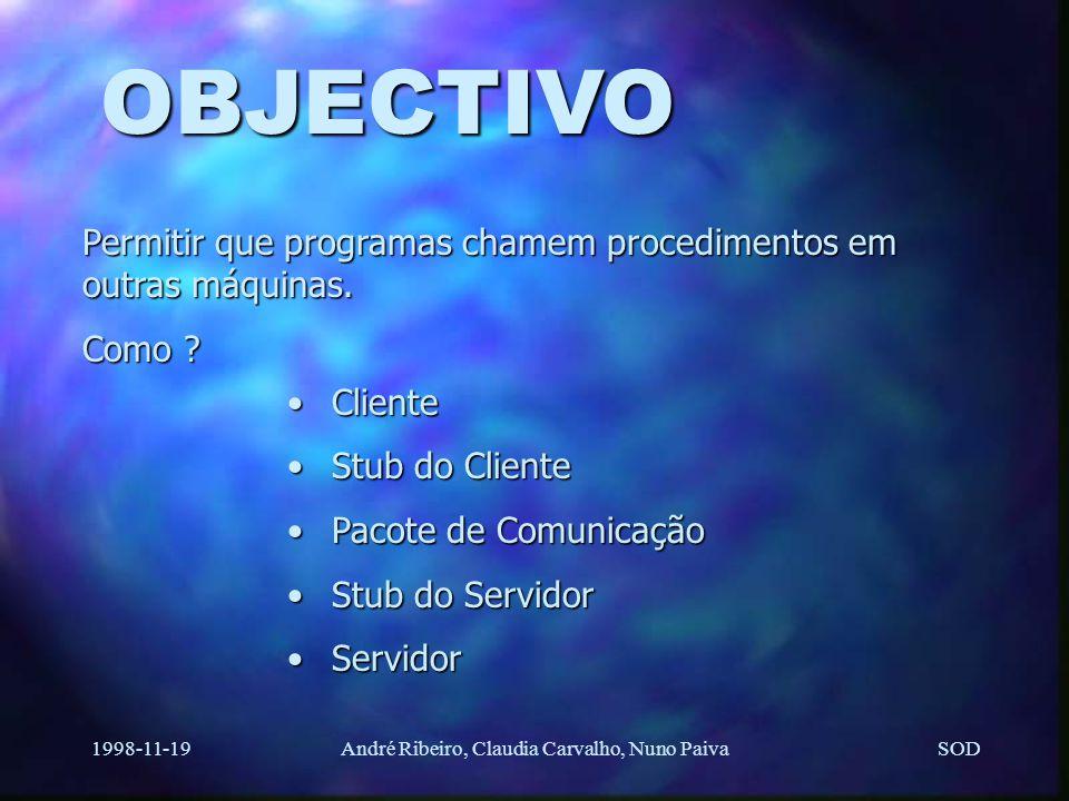 SOD 1998-11-19André Ribeiro, Claudia Carvalho, Nuno Paiva OBJECTIVO Permitir que programas chamem procedimentos em outras máquinas.