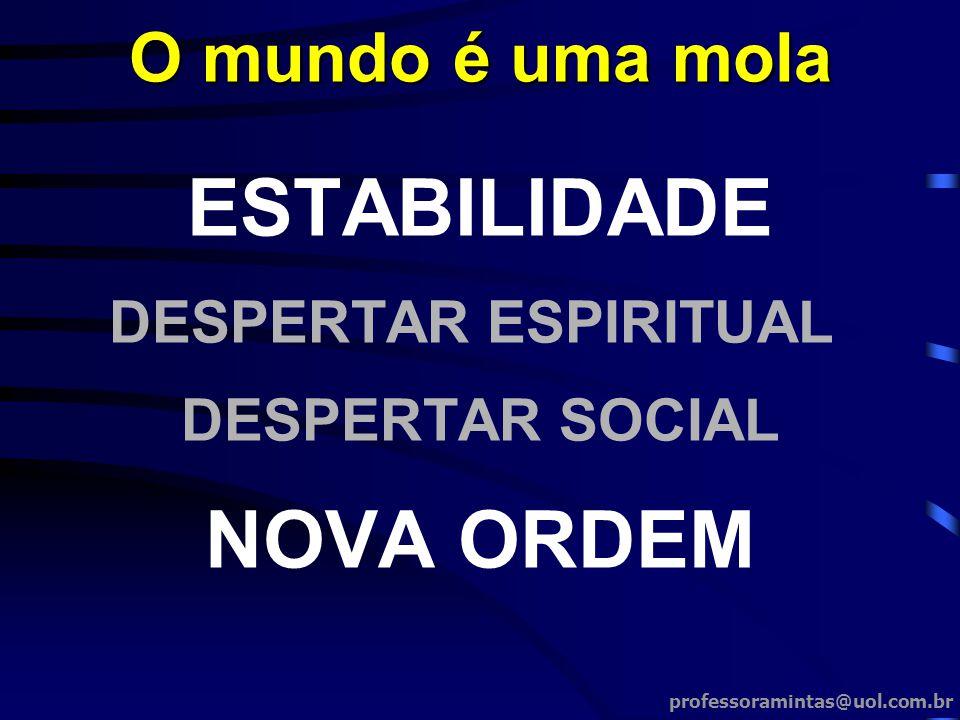 ESTABILIDADE DESPERTAR ESPIRITUAL DESPERTAR SOCIAL NOVA ORDEM O mundo é uma mola professoramintas@uol.com.br