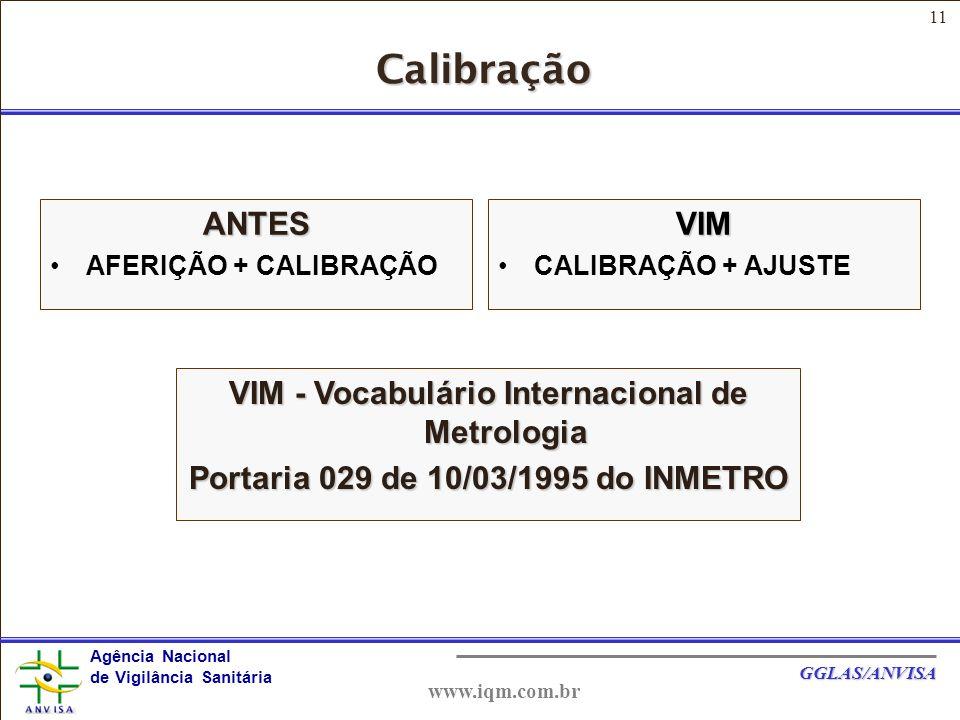 11 Agência Nacional de Vigilância Sanitária GGLAS/ANVISA www.iqm.com.br Calibração ANTES AFERIÇÃO + CALIBRAÇÃOVIM CALIBRAÇÃO + AJUSTE VIM - Vocabulário Internacional de Metrologia Portaria 029 de 10/03/1995 do INMETRO