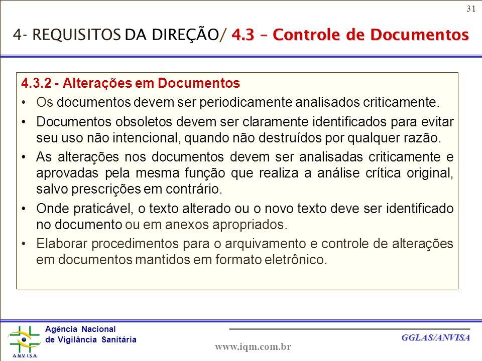 31 Agência Nacional de Vigilância Sanitária GGLAS/ANVISA www.iqm.com.br 4.3.2 - Alterações em Documentos Os documentos devem ser periodicamente analisados criticamente.