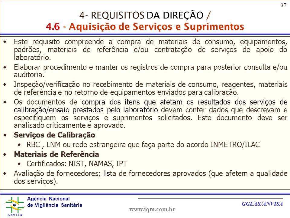 37 Agência Nacional de Vigilância Sanitária GGLAS/ANVISA www.iqm.com.br Este requisito compreende a compra de materiais de consumo, equipamentos, padrões, materiais de referência e/ou contratação de serviços de apoio do laboratório.