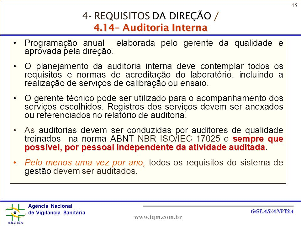 45 Agência Nacional de Vigilância Sanitária GGLAS/ANVISA www.iqm.com.br Programação anual elaborada pelo gerente da qualidade e aprovada pela direção.