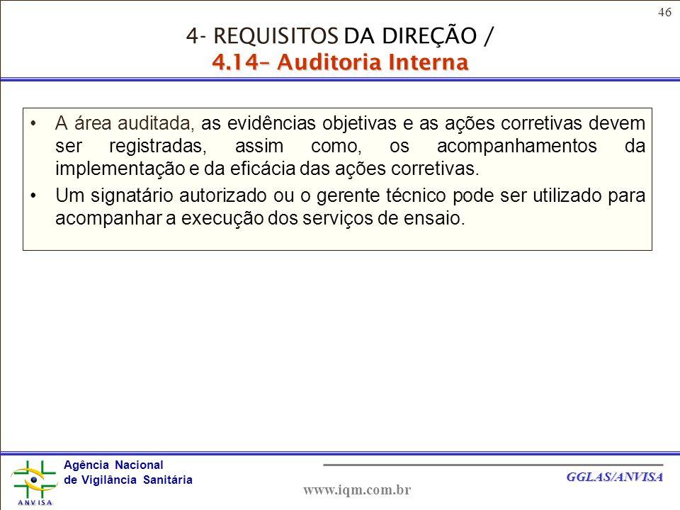 46 Agência Nacional de Vigilância Sanitária GGLAS/ANVISA www.iqm.com.br A área auditada, as evidências objetivas e as ações corretivas devem ser registradas, assim como, os acompanhamentos da implementação e da eficácia das ações corretivas.