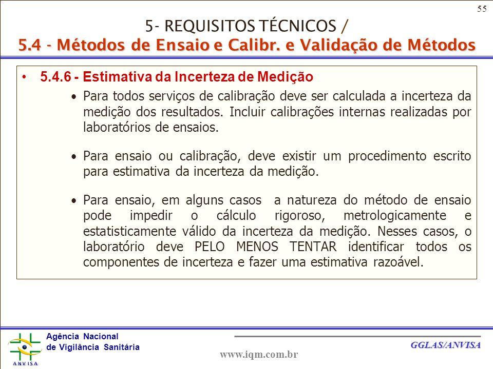 55 Agência Nacional de Vigilância Sanitária GGLAS/ANVISA www.iqm.com.br 5.4.6 - Estimativa da Incerteza de Medição Para todos serviços de calibração deve ser calculada a incerteza da medição dos resultados.