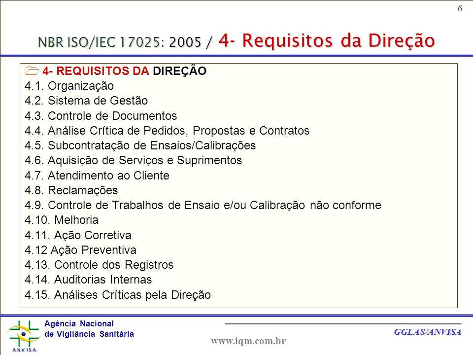 6 Agência Nacional de Vigilância Sanitária GGLAS/ANVISA www.iqm.com.br NBR ISO/IEC 17025: 2005 / 4- Requisitos da Direção  4- REQUISITOS DA DIREÇÃO 4.1.