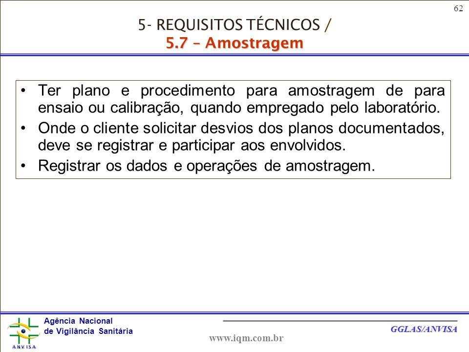 62 Agência Nacional de Vigilância Sanitária GGLAS/ANVISA www.iqm.com.br Ter plano e procedimento para amostragem de para ensaio ou calibração, quando empregado pelo laboratório.