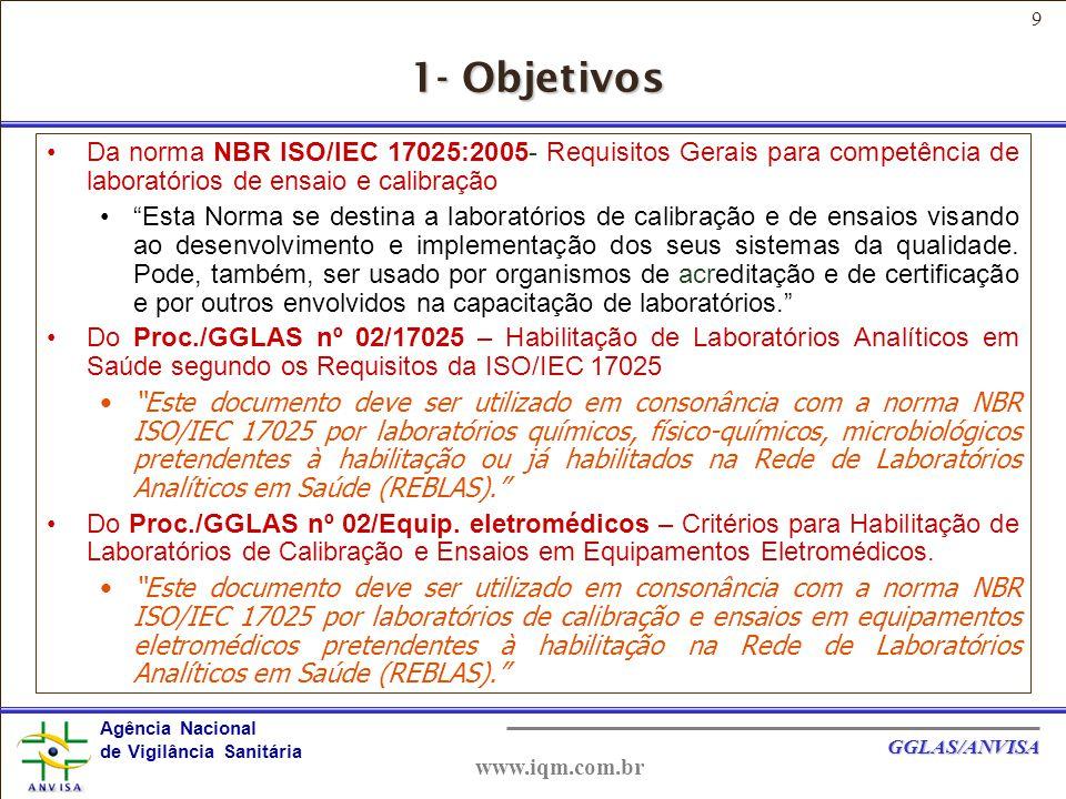10 Agência Nacional de Vigilância Sanitária GGLAS/ANVISA www.iqm.com.br 2- REFERÊNCIAS NBR ISO 9001 - Sistemas de Gestão da Qualidade – Requisitos ABNT ISO/IEC Guia 2 - Termos gerais e suas definições relativas à normalização e atividades correlatas.