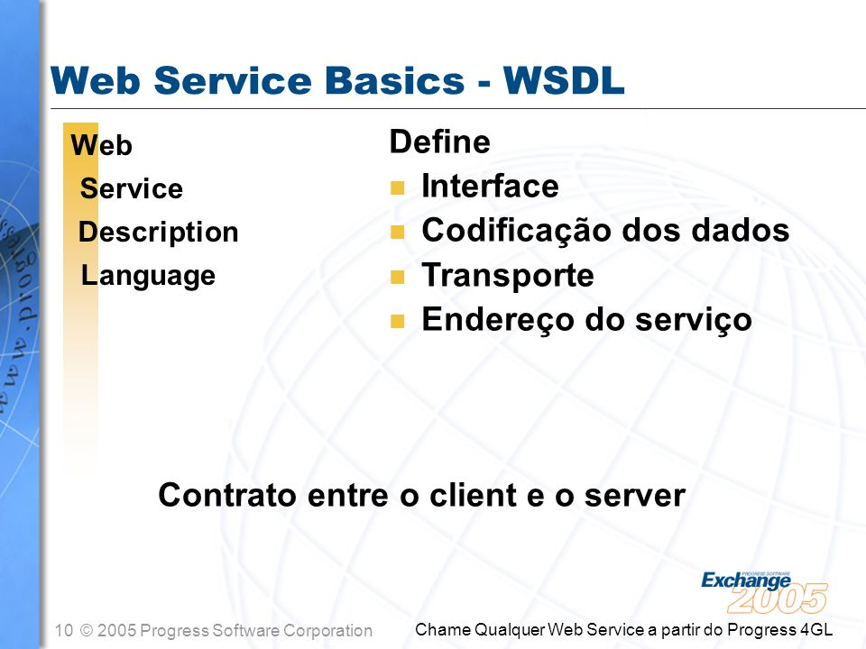11© 2005 Progress Software Corporation Chame Qualquer Web Service a partir do Progress 4GL Anatomia de uma Sessão Web Service OpenEdge 4GL Client Um provedor de Web Service SOAP Request SOAP Response SOAP Request SOAP Response WSDL Request WSDL Response