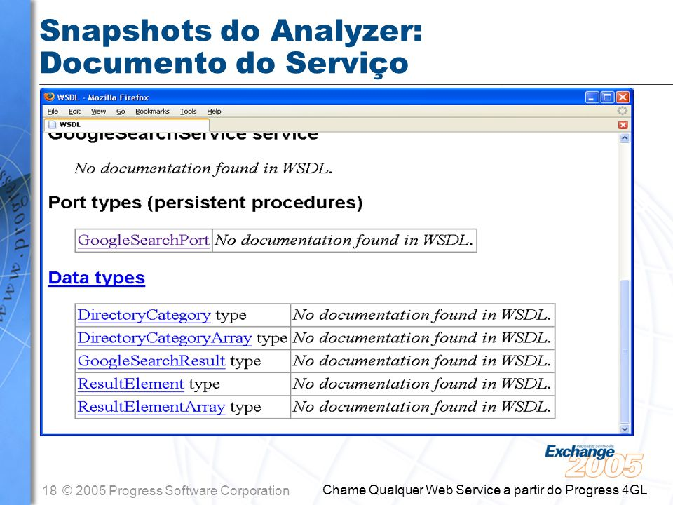 18© 2005 Progress Software Corporation Chame Qualquer Web Service a partir do Progress 4GL Snapshots do Analyzer: Documento do Serviço