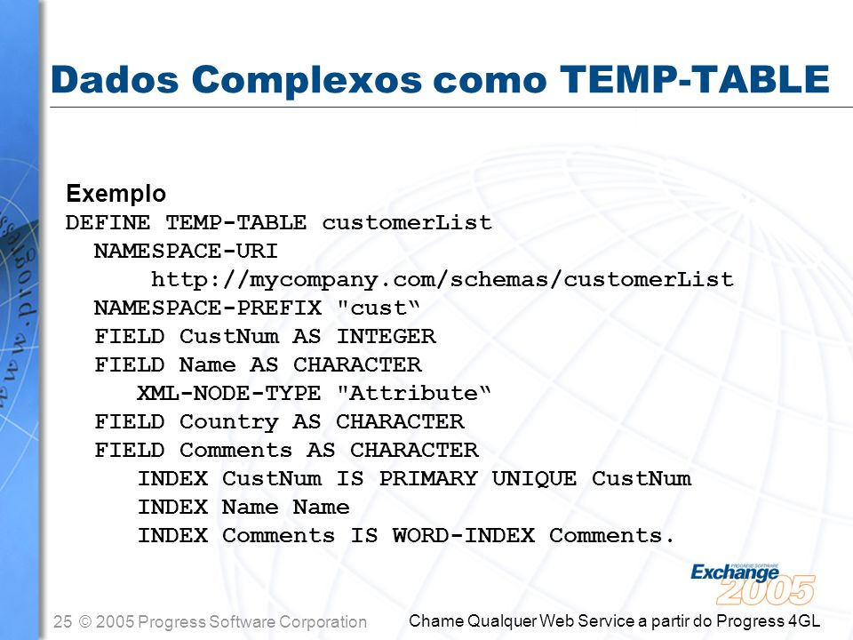 26© 2005 Progress Software Corporation Chame Qualquer Web Service a partir do Progress 4GL Dados Complexos como TEMP-TABLE Parâmetros customerList This value is defined as a TEMP-TABLE.