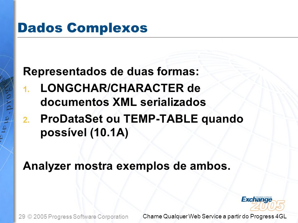 29© 2005 Progress Software Corporation Chame Qualquer Web Service a partir do Progress 4GL Dados Complexos Representados de duas formas: 1. LONGCHAR/C