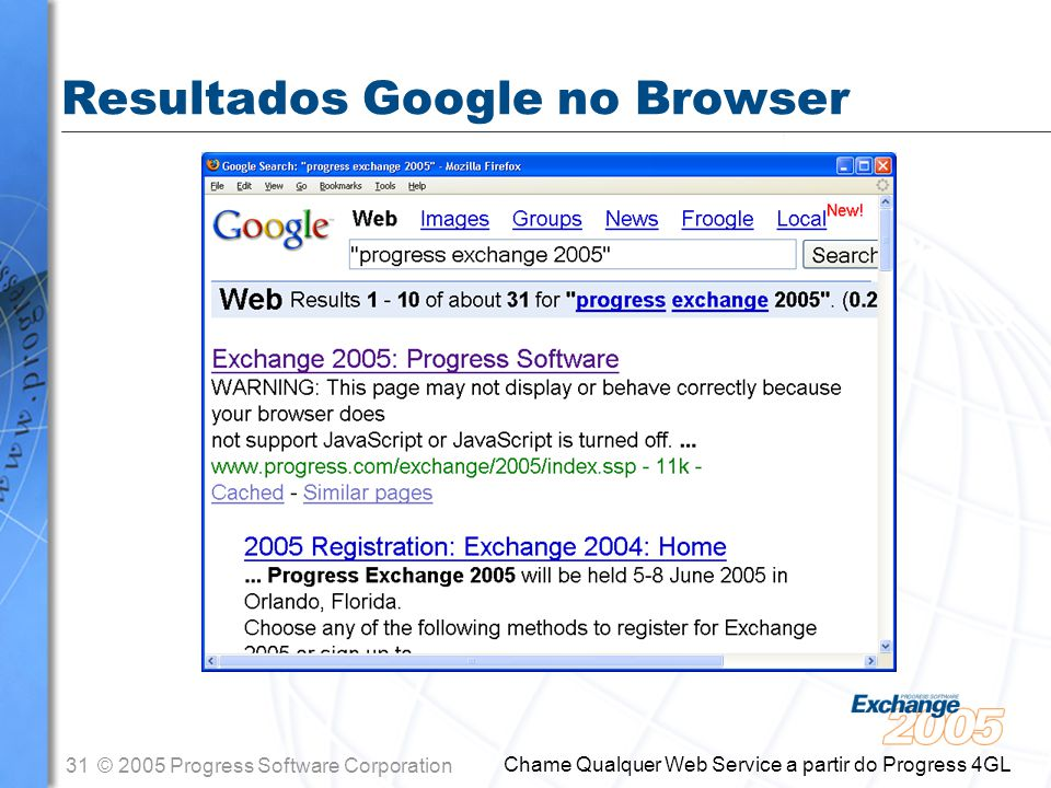 31© 2005 Progress Software Corporation Chame Qualquer Web Service a partir do Progress 4GL Resultados Google no Browser