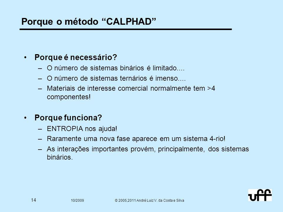 """14 10/2009 © 2005,2011 André Luiz V. da Costa e Silva Porque o método """"CALPHAD"""" Porque é necessário? –O número de sistemas binários é limitado.... –O"""