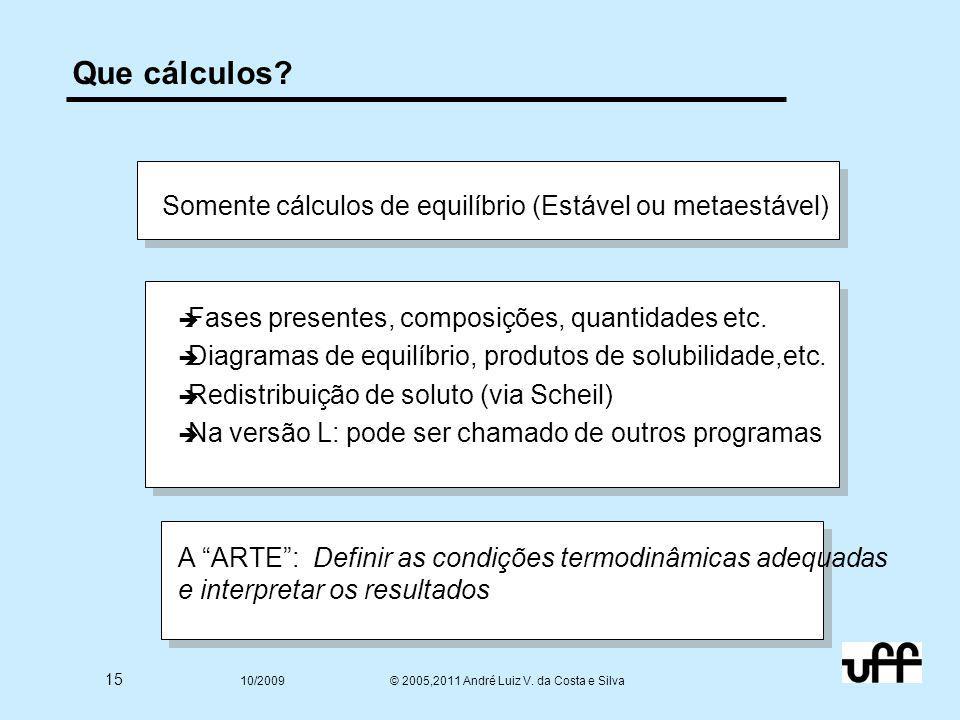15 10/2009 © 2005,2011 André Luiz V. da Costa e Silva Que cálculos? Somente cálculos de equilíbrio (Estável ou metaestável) è Fases presentes, composi