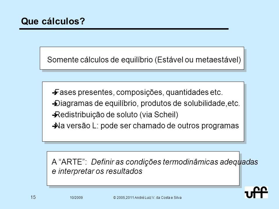 15 10/2009 © 2005,2011 André Luiz V. da Costa e Silva Que cálculos.
