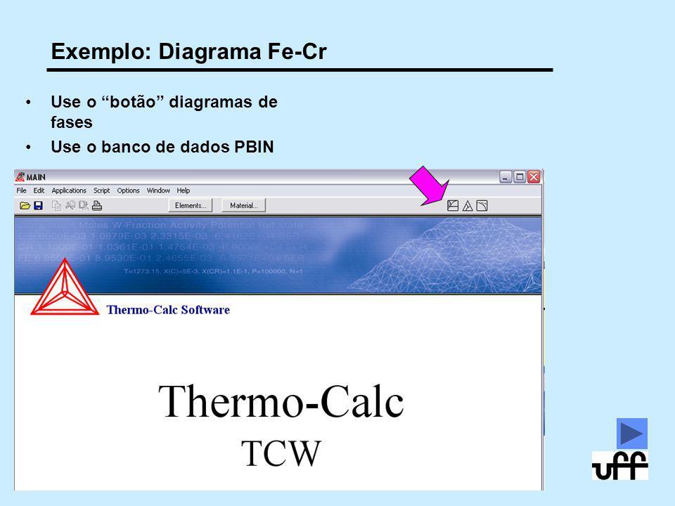 """20 10/2009 © 2005,2011 André Luiz V. da Costa e Silva Exemplo: Diagrama Fe-Cr Use o """"botão"""" diagramas de fases Use o banco de dados PBIN"""
