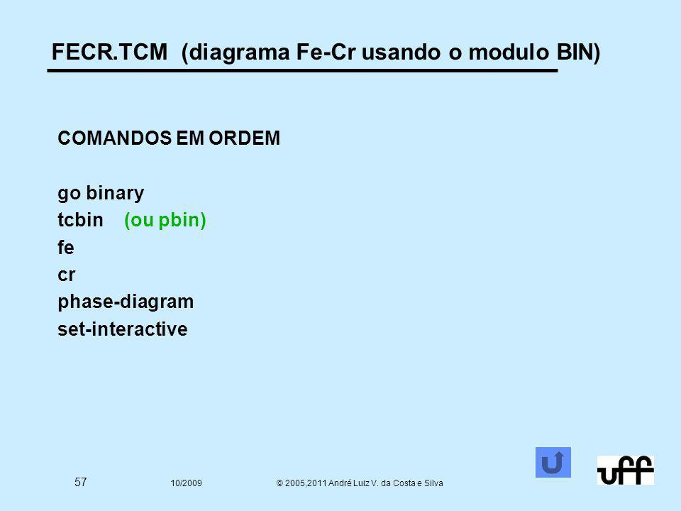57 10/2009 © 2005,2011 André Luiz V. da Costa e Silva FECR.TCM (diagrama Fe-Cr usando o modulo BIN) COMANDOS EM ORDEM go binary tcbin (ou pbin) fe cr