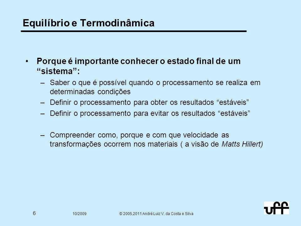 """6 10/2009 © 2005,2011 André Luiz V. da Costa e Silva Equilíbrio e Termodinâmica Porque é importante conhecer o estado final de um """"sistema"""": –Saber o"""