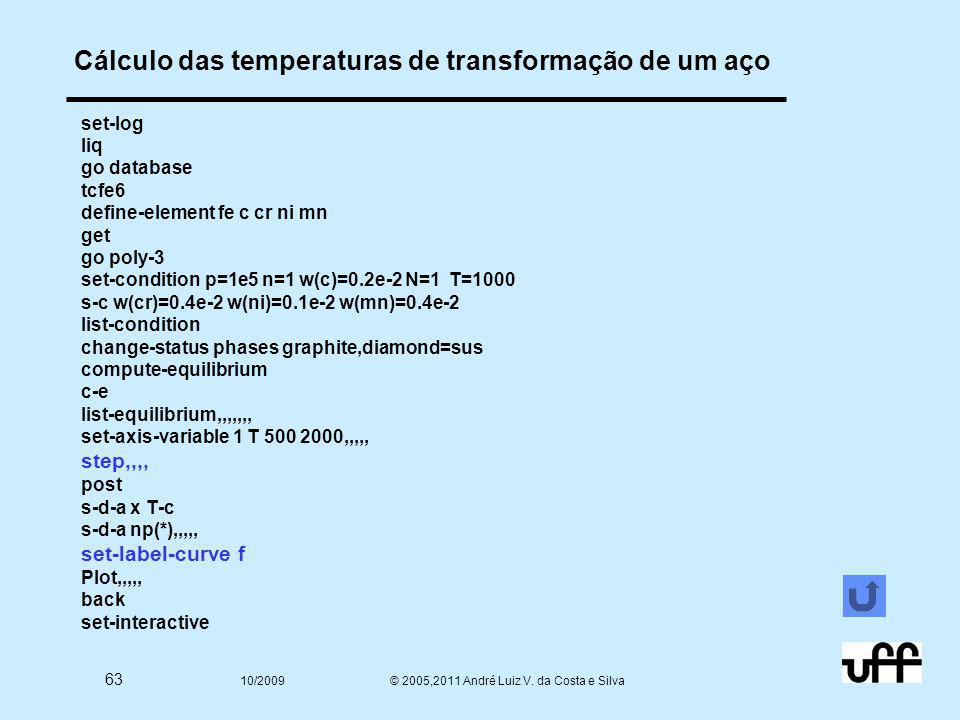 63 10/2009 © 2005,2011 André Luiz V. da Costa e Silva Cálculo das temperaturas de transformação de um aço set-log liq go database tcfe6 define-element