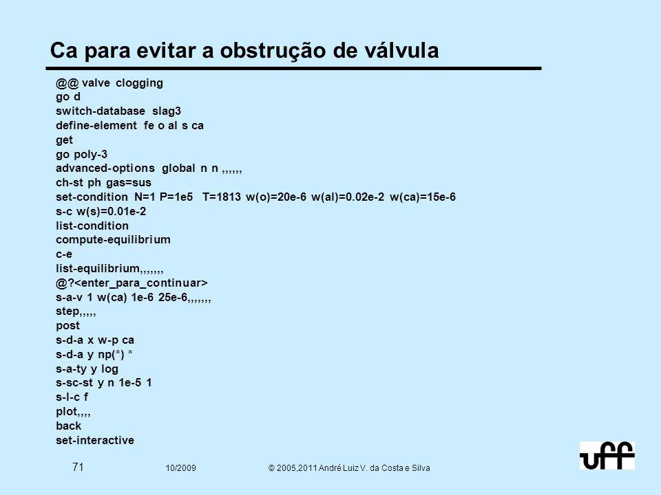 71 10/2009 © 2005,2011 André Luiz V. da Costa e Silva Ca para evitar a obstrução de válvula @@ valve clogging go d switch-database slag3 define-elemen